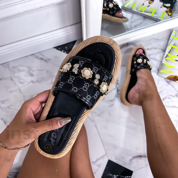 Černé pantofle s ozdobou-248426-32