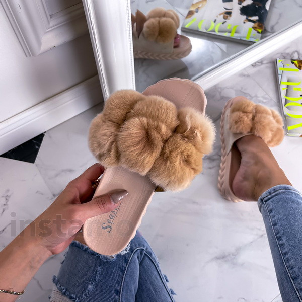 Béžové kožešinové pantofle-241141-310