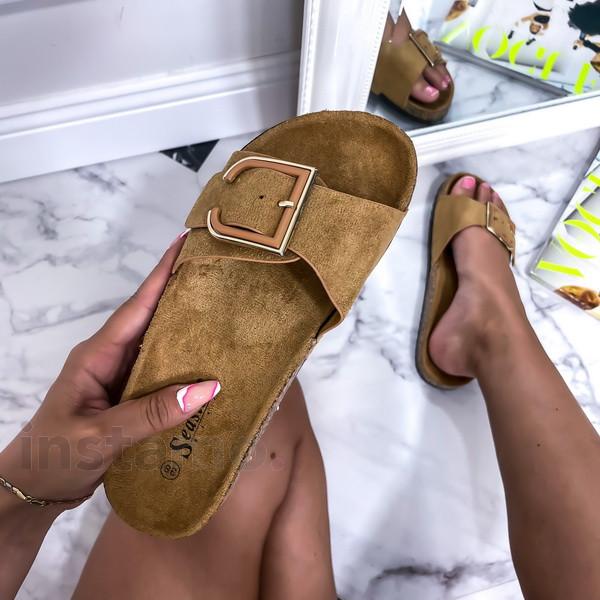 Tmavě béžové korkové pantofle-248611-33