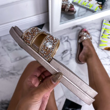 Champagne kamínkové pantofle-248404-08