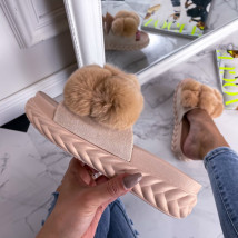 Béžové kožešinové pantofle-241141-010
