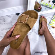 Tmavě béžové korkové pantofle-248611-03